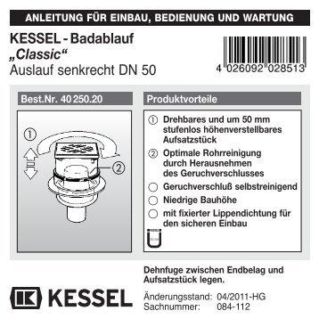 """KESSEL-Badablauf """"Classic"""" Auslauf senkrecht DN 50"""