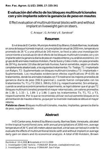 Evaluación del efecto de los bloques multinutricionales con y sin ...
