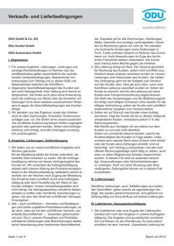 die Allgemeinen Geschäftsbedingungen - ODU