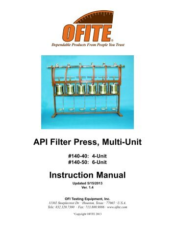 140-40 - API Filter Press, Multi-Unit - OFI Testing Equipment, Inc.