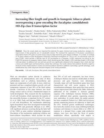 Plant Biotechnol. 26(1): 115-120 (2009) - Wdc-jp.biz