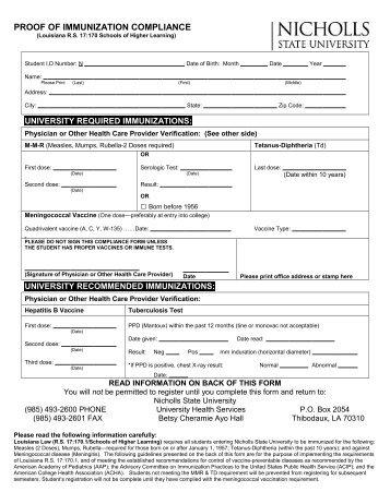 Download the Certificate of Immunization / Meningitis Response form