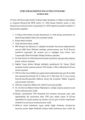 18 Nisan 2010 Merkez Yönetim Kurulu Toplantısı - Türk Toraks ...