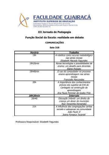 III Jornada de Pedagogia - Faculdade Guairacá