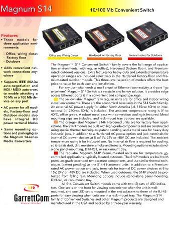 GarrettCom Magnum FT14H Series Installation And User Manual