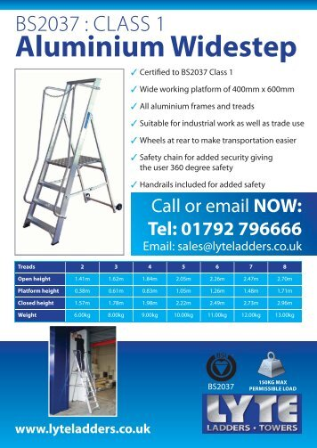 product data sheet - Lyte Ladders & Towers