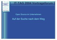 IT-TAG 2004 Vortragsforum I - KEG Saar