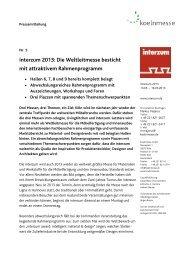Pressemitteilung Nr. 5 - Rahmenprogramm - Interzum