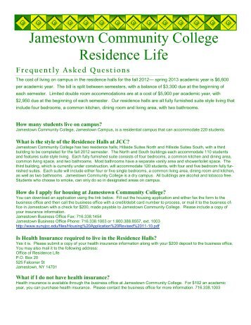 Jamestown Community College Residence Life