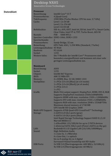 Desktop NX05 Datenblatt