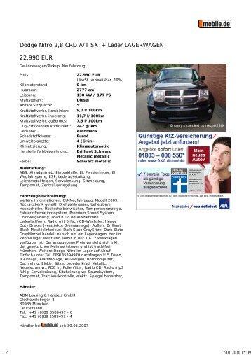 Druckansicht: Dodge Nitro 2... - Sales Auto Klub