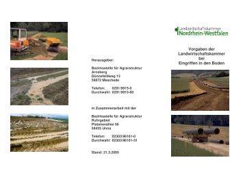 Vorgaben der Landwirtschaftskammer bei Eingriffen in den Boden