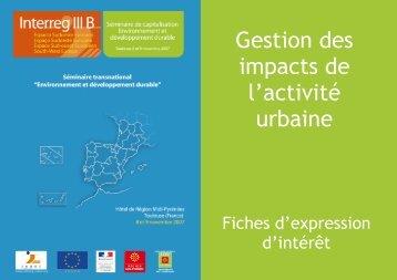 Gestion des im pacts de l'activité urbaine - Arpe