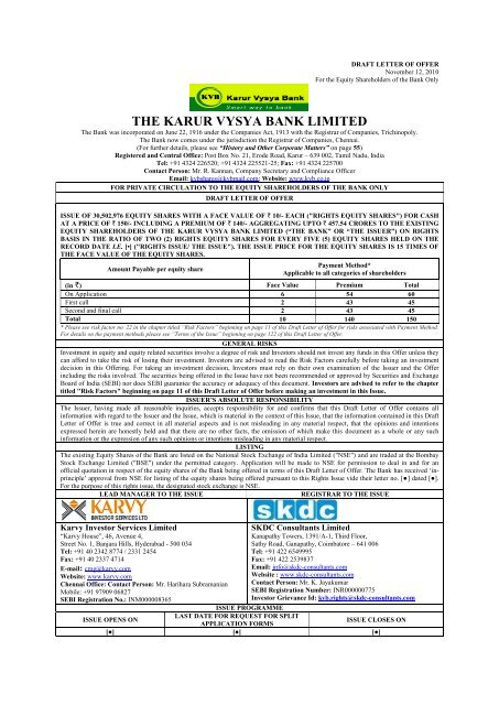 DRAFT LETTER OF OFFER - Karur Vysya Bank