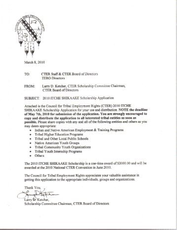 FROM: Larry D. Ketcher, CTER Scholarship Committee Chairman ...