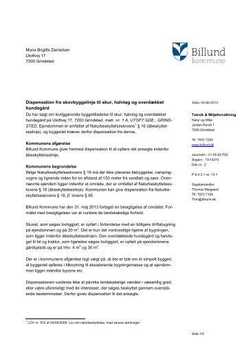 Dispensation til skur, halvtag og hundegård ... - Billund Kommune