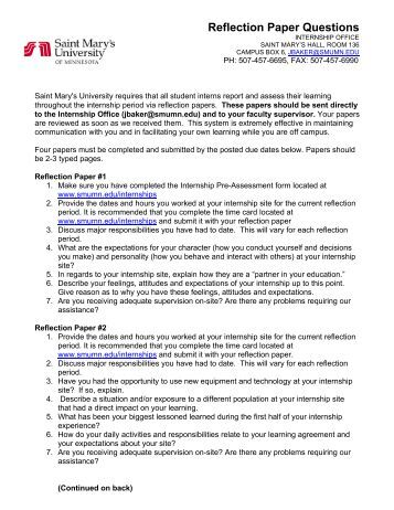 internship reflection paper essay