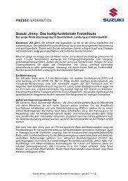 Suzuki Jimny: Das kultig-funktionale Freizeitauto - Suzuki-presse.de
