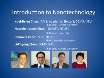 IntroducTon to Nanotechnology - Academia Sinica