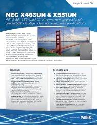 """NEC X463UN & X551UN 46"""" & 55"""" LED-backlit, ultra-narrow - CEV"""