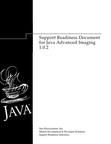 Support Readiness Document for Java Advanced Imaging 1.0.2
