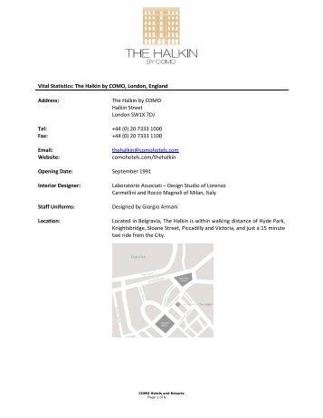 The Halkin by COMO - Press Kit - COMO Hotels and Resorts