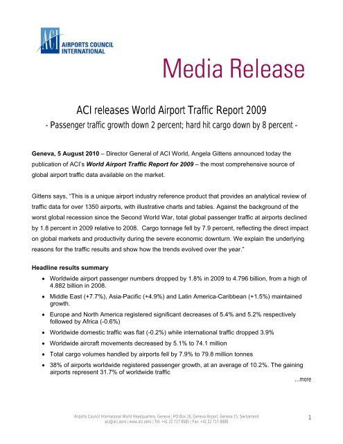 ACI releases World Airport Traffic Report 2009 pdf - Airports