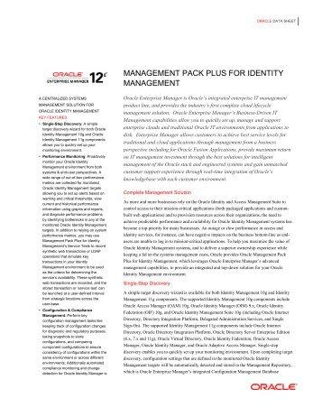 Management Pack Plus for Identity Management Datasheet - Oracle