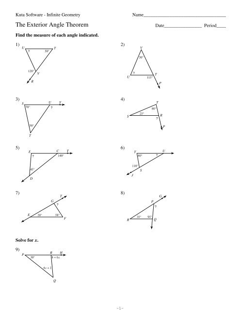 4 The Exterior Angle Theorem (PDF) - Kuta Software