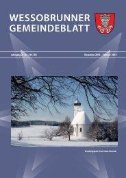 Jahrgang 23 Nr. 183 Dezember 2013 - Februar 2014 - Wessobrunn