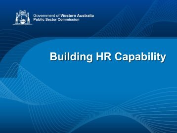 Launch HR Capability Framework Slide Show - Public Sector ...