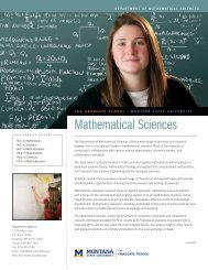 Area of Study Mathematical Sciences - Montana State University