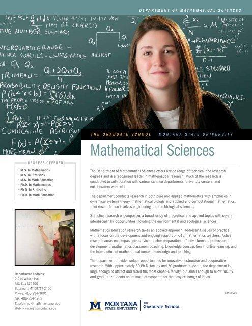 Area of Study Mathematical Sciences - Montana State University