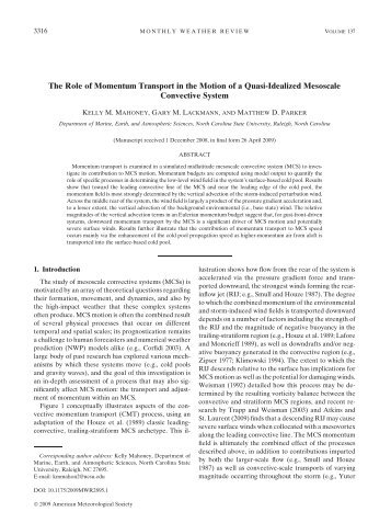 The Role of Momentum Transport in the Motion of a Quasi-Idealized ...