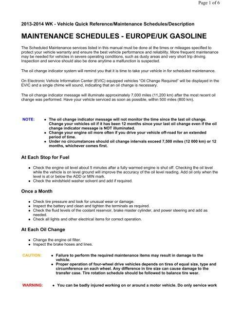 Maintenance schedule Grand Cherokee (Europe ... - WK2Jeeps.com