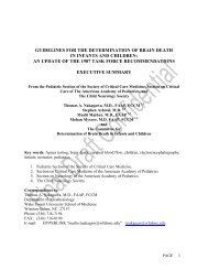 guidelines for the determination of brain death in infants and children