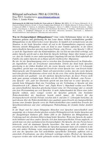Bilingual Aufwachsen: PRO U0026 CONTRA