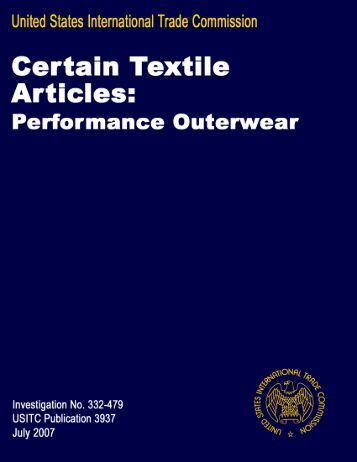G:\Textiles\332 performance outerwear and luggage ... - USITC