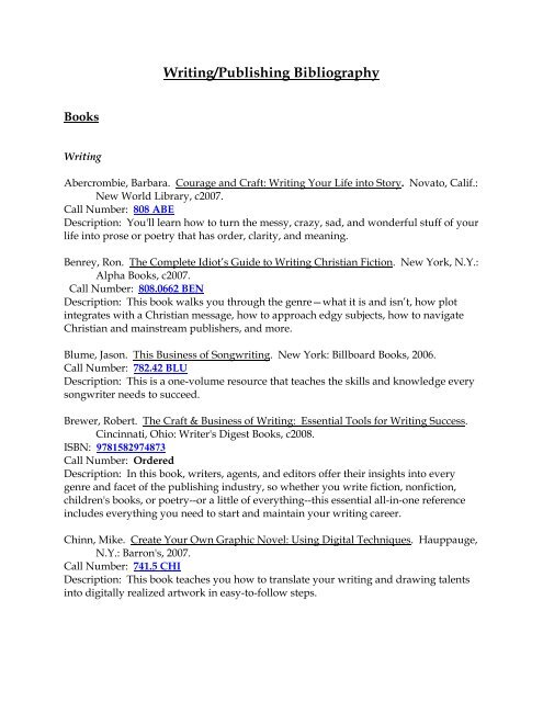Writing Publishing Bibliography