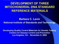 development of three mitochondrial dna standard reference materials