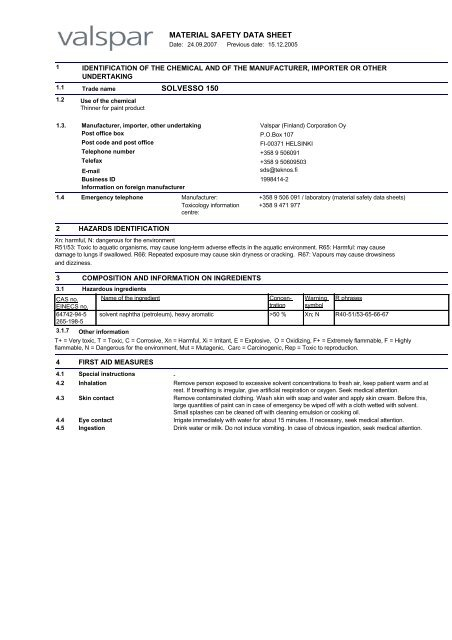 MATERIAL SAFETY DATA SHEET SOLVESSO 150 - Teknos