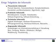 Einige Teilgebiete der Informatik - Lehrstuhl für Effiziente Algorithmen