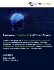 """Prognostics """"Luminary"""" and Plenary Session - PHM Society"""