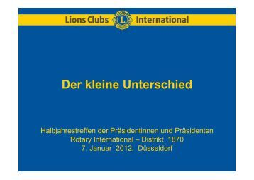 Der kleine Unterschied - Rotary Distrikt 1870