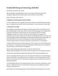 Protokoll SEB Sitzung vom Donnerstag, 18.04.2013