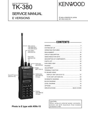 kenwood tk 860g 862g the repeater builder s technical rh yumpu com kenwood tk 380 service manual Kenwood Portable Radios