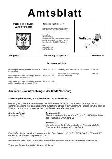 Amtsblatt Nr. 14 vom 08.04.2011 - Wolfsburg