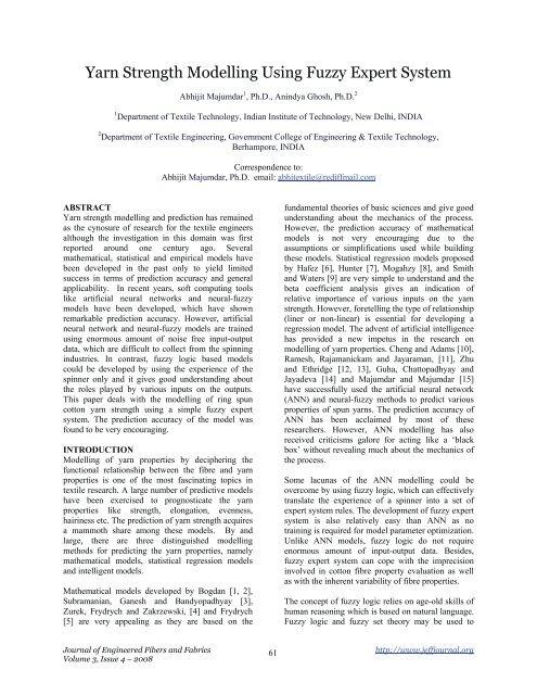 Yarn Strength Modelling Using Fuzzy Expert System - Journal