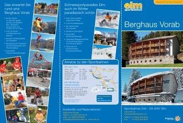 Berghaus Vorab - Sportbahnen Elm