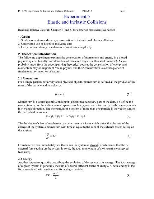 Experiment 5 Elastic And Inelastic Collisions